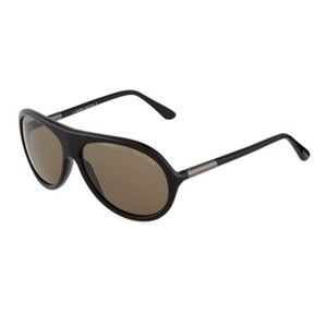 TOM FORD Rodrigo Black Acetate Aviator Sunglasses
